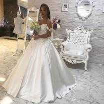 Discount Plain Simple White A Line Wedding Dresses 2018 Elegant