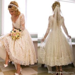 Discount Vintage Lace 2017 1950s V Neck Wedding Dress Tea Length