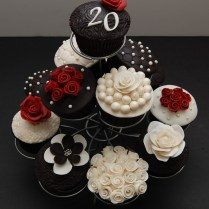 Elegant Black And White Anniversary Cupcakes