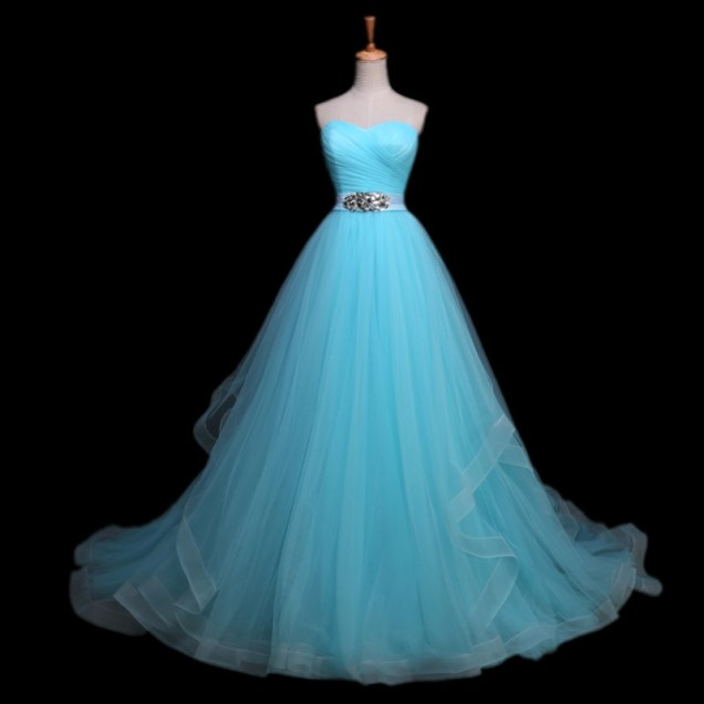 Elegant Crystal Beaded Sashes Vestido De Noiva Light Blue Wedding
