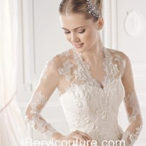 Fitted A Line Scalloped Neckline Lace Wedding Dress With Sheer