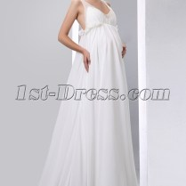 Flowing Chiffon Low Back Maternity Wedding Dresses With Straps 1st