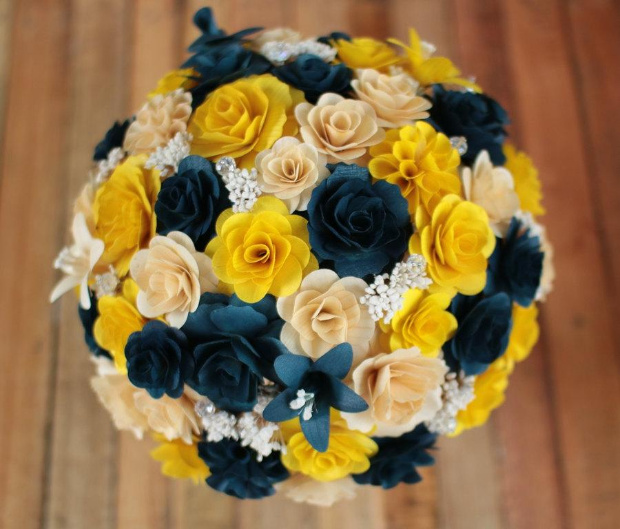 Yellow Wedding Flowers Ideas: Navy Blue And Yellow Wedding Bouquets