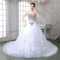 Gorgeous Ball Gown Strapless Corset Back Tulle Lace Crystal Beaded