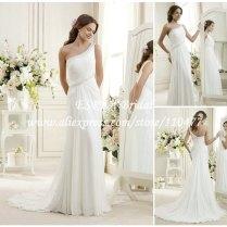 Grecian Style Beaded One Shoulder White Chiffon Beach Wedding