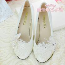 Handmade Ivory Pearl Lace Wedding Shoes Butterfly Beads Flat 4 5cm