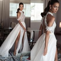 High Neck Cold Shoulder Drape Sleeves Beaded Bodice Wedding