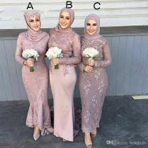 High Quality Satin Long Sleeve Muslim Bridesmaid Dresses With