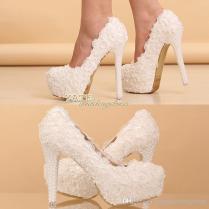 Hot Elegant Lace Wedding Shoes Bridesmaid Shoes 12cm 14cm High