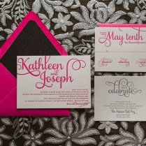 Hot Pink And Black Wedding Invitations Real Wedding Kathleen And