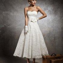 Justin Alexander 8632 Ivory Tea Length Wedding Dress For Sale In