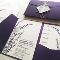 Lavender Wedding Invitation Sample, Purple Pocketfold Tags Twine