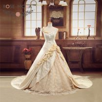 Luxury Champagne Gold 3d Roses Royal Wedding Ball Gown Cathedral