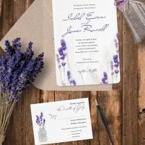Luxury Pearl Shimmer Lavender Wedding Invitation