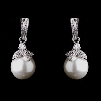 Maeve' Vintage Inspired Pearl Wedding Earrings
