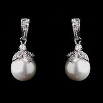 Maeve' Vintage Inspired Pearl Wedding Earrings