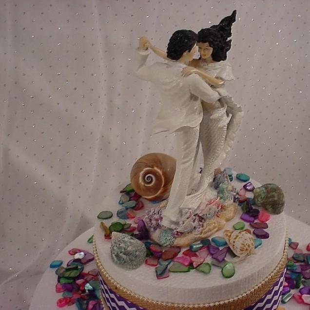 Mermaid Bride Summer Beach Wedding Cake Toppers Custom White