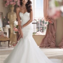 Mermaid Strapless Organza Lace Beaded Crystal Wedding Dress