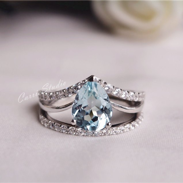 Natural Aquamarine Ring Set Aquamarine Engagement Ring Set