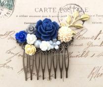 Navy Blue Comb Dark Blue Gold Wedding Bridal Hair Accessories