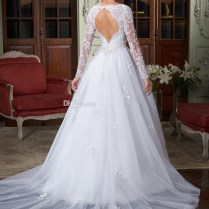 New Long Sleeve Backless Removable Train White Beaded Lace Wedding