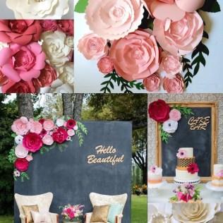 Paper Flower Wedding Reception Wall Ideas