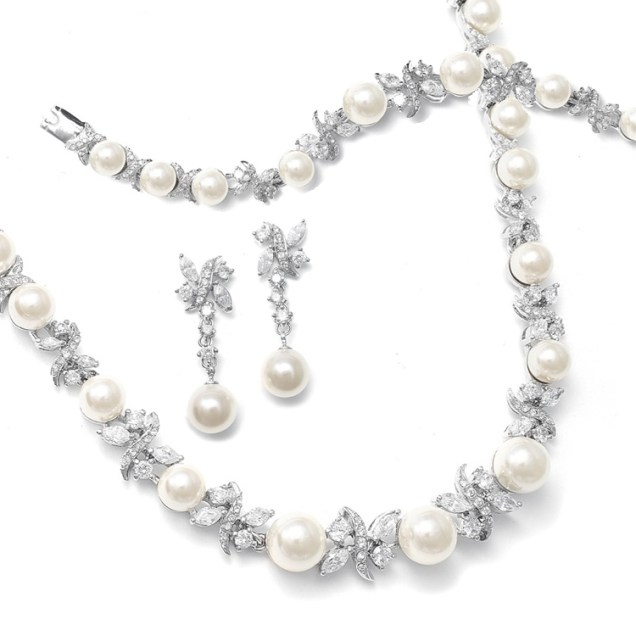 Pearl And Cz Bridal Earrings Raquel