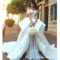 Romantic Italian Style Wedding Dress Off Shoulder Beaded Short