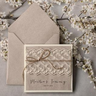 Rustic Wedding Invitations (20), Wedding Invitation Suite, Lace
