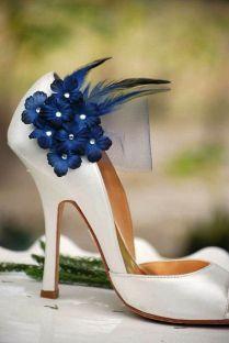 Shoe Clips Navy Midnight Blue Flowers Bridesmaid Bride Dark