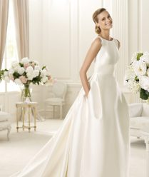 Simple Pockets Satin Sweep Brush Imported Taffeta Straps Ball Gown
