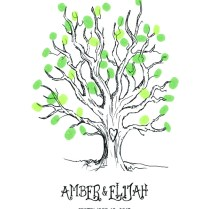 Sketch Tree Wedding Thumbprint Guest Book