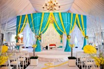 Turquoise & Yellow Fabric Mandap By Elegance Decor Chicago Www