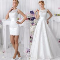 Two Piece Wedding Dress Removable Skirt