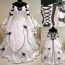 Vintage 2016 Black And White Lace Organza Off Shoulder Victorian