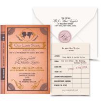 Vintage Book Wedding Invitation Digital Custom Pdf Love Story