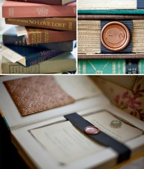 Vintage Books As Wedding Invitations