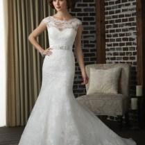 Wedding Dresses Ideas Rhinestones Belt Scoop Neack Lace Mermaid