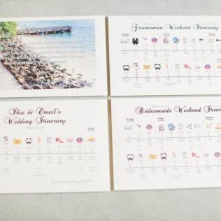 Wedding Itinerary, Wedding Welcome Cards, Bridesmaid Groomsmen