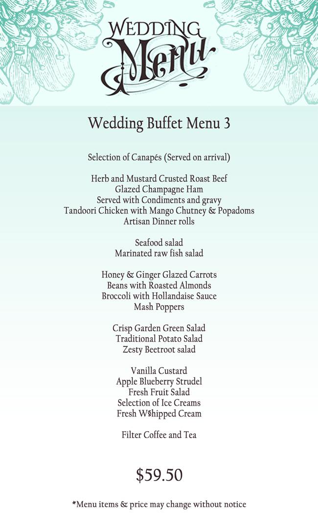 Wedding Reception Buffet Menu Invitationjpg