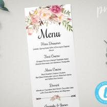Wedding Menu Template, Printable Menu, Floral Wedding Menu