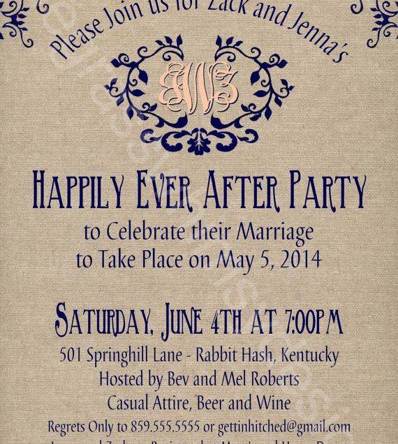 Wedding Reception Invitation After Eloping