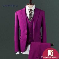 Wedding Suits Purple Mens Three Piece Suit High Quality Fabric Of