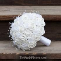 White And Silver Bouquet Heartseek Heartseek White Silk Wedding