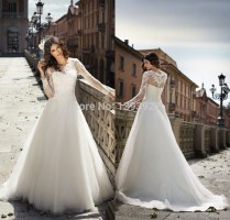 White Lace Wedding Dress 2015 Long Sleeves A Line Stunning Organza