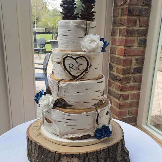 A Rustic Birch Log Wedding Cake 4 Tiers Featured Including Sugar