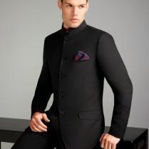 Black Mens Wedding Tuxedos High Collar Mens Suits Custom Made