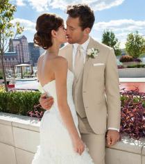 Custom Beige Wedding Suit For Men Notched Lapel Mens Suits Tan