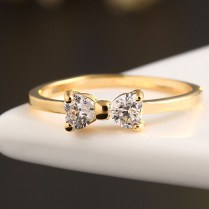Fashion Austria Crystal Cz Diamond Rings Gold Plated Finger Bow