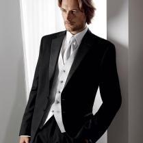 High Quality Two Button Black Groom Tuxedos Groomsmen Men's